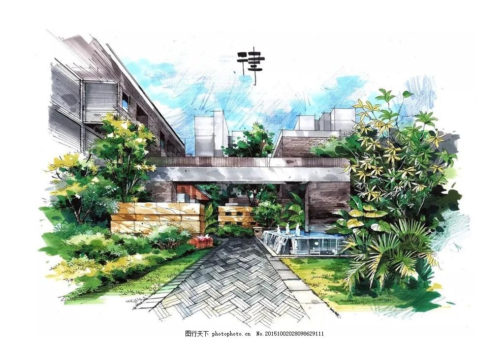 建筑设计效果图 手绘        马克笔 设计手绘 设计 环境设计 建筑