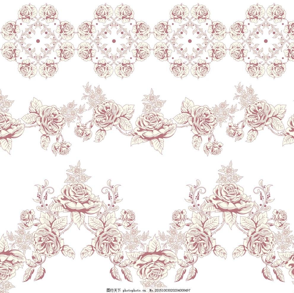手绘花卉 玫瑰花 花朵 鲜花 花卉插图 壁纸图案 矢量