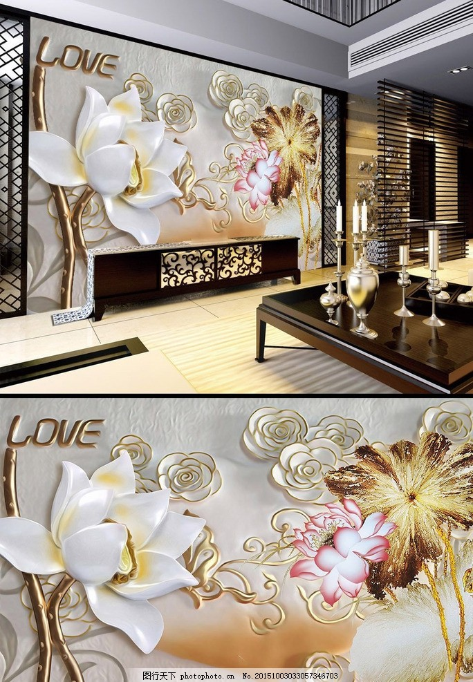花卉 瓷砖背景墙 中式 简欧 美容前台 壁画 简洁 典雅 淡雅 艺术 欧式