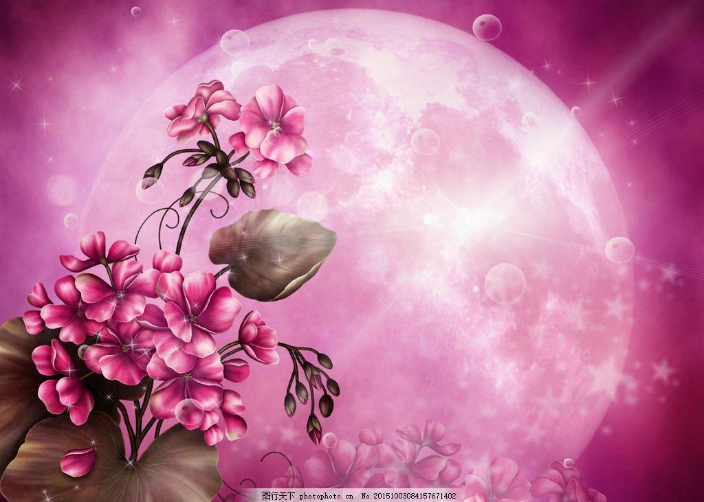 中秋圆月 电脑壁纸 高清壁纸 粉色花朵 红色花朵 粉色电脑壁纸 粉色