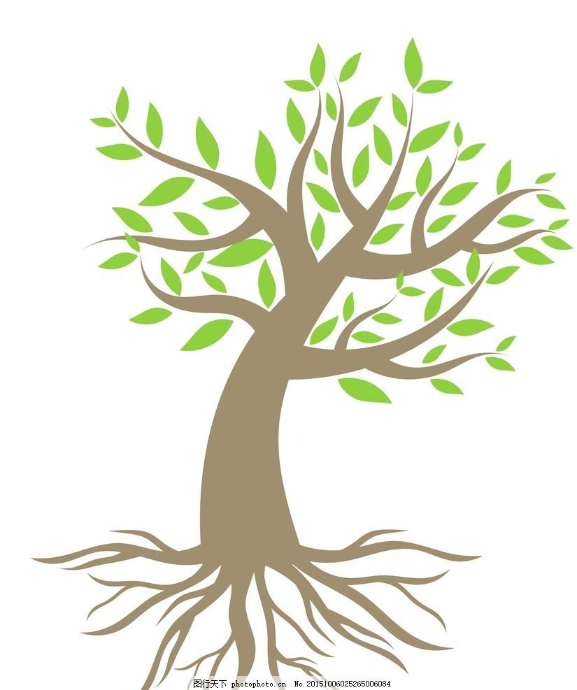 手绘树木扎入大地