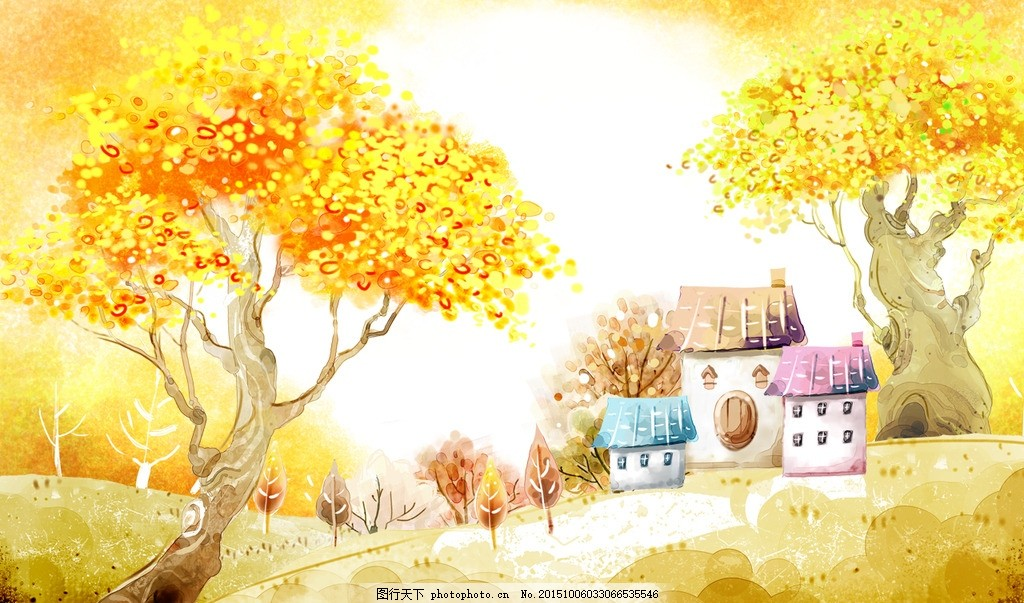 唯美秋天插画风景 风景 黄色 金黄色 秋季 秋天 秋韵 插画 秋季 设计