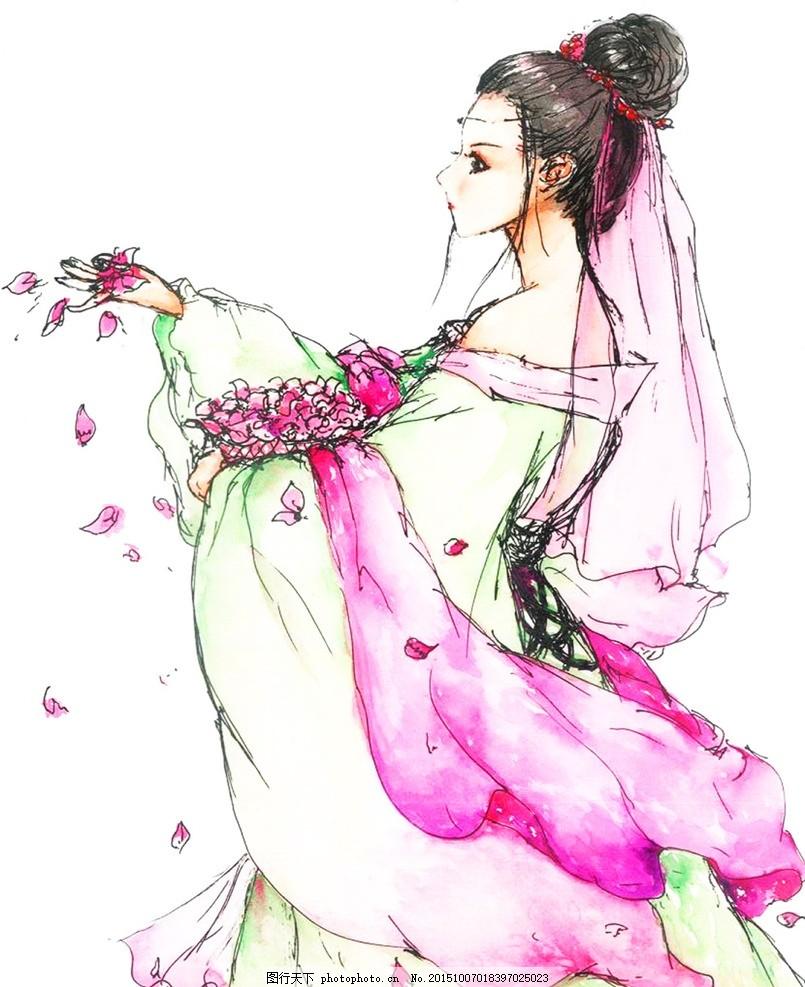 散花 古装 美女 手绘 水彩 古典 中国风 动漫动画