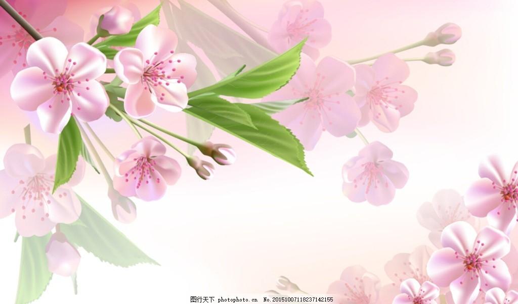 梦幻花卉电视背景墙,桃花 手绘花卉 浪漫花卉 电视墙