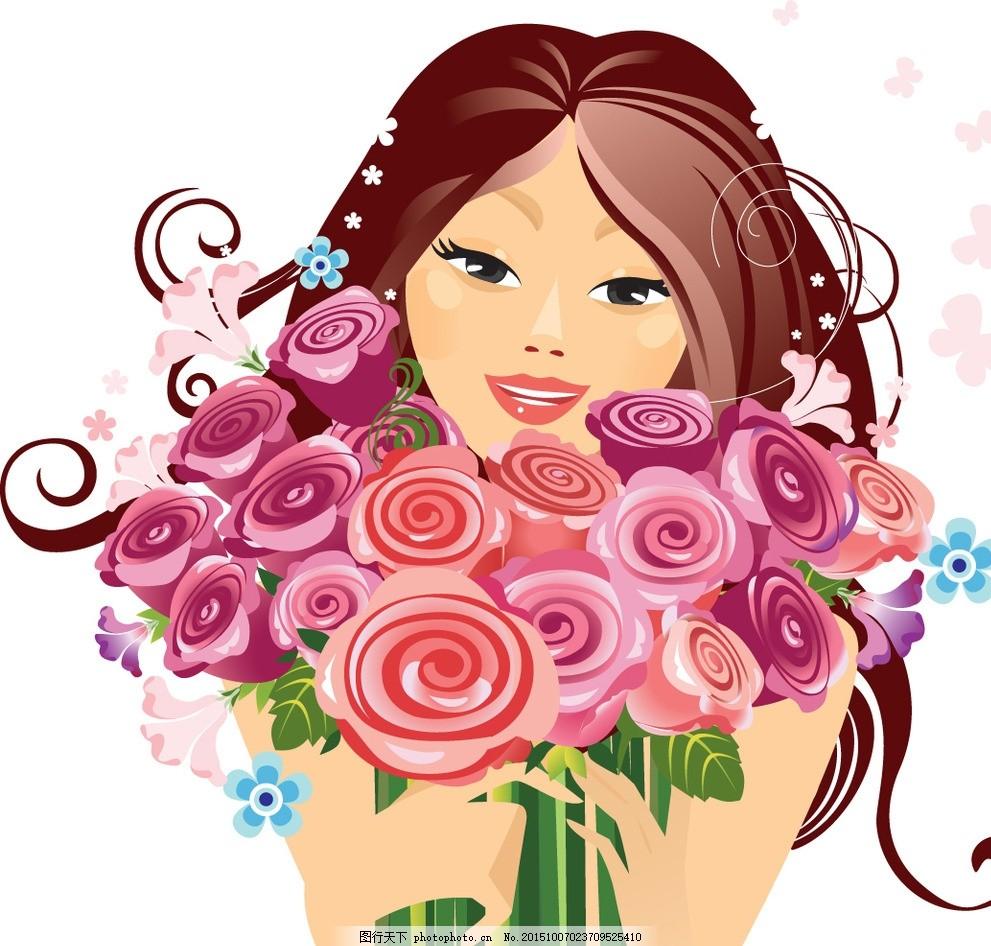 小女孩 女人 玫瑰花 鲜花 女性 服装设计 美女 模特 草图 卡通女生 简