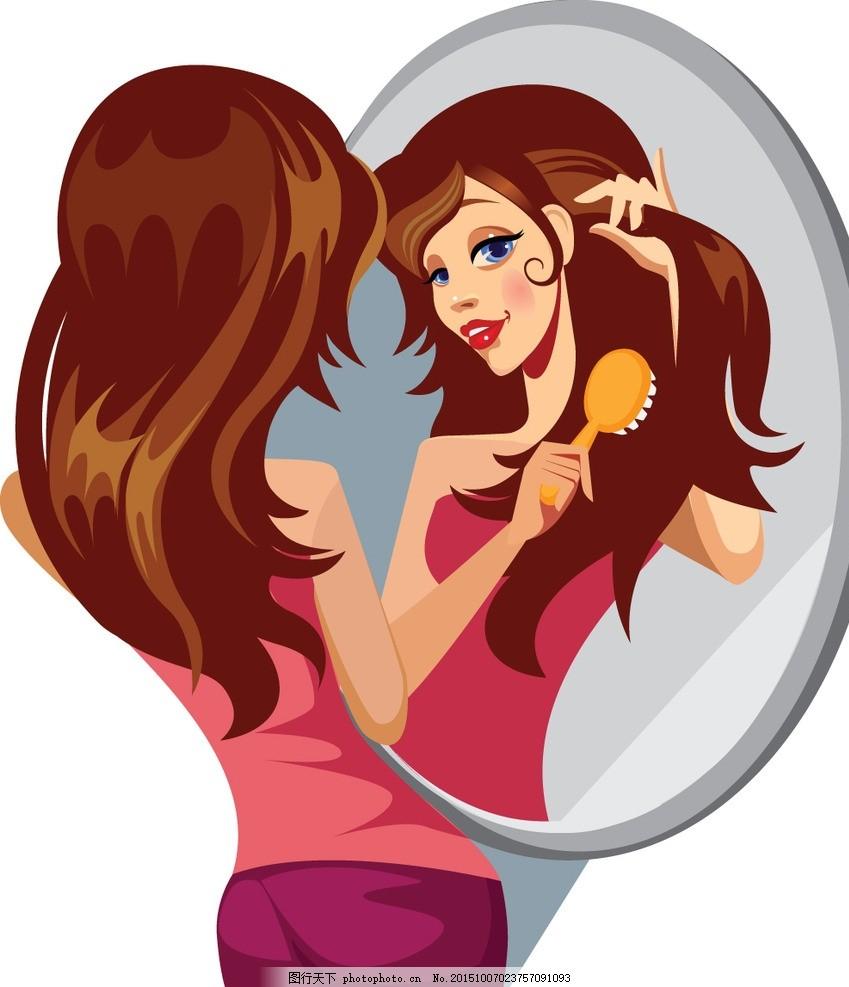 时尚少女 手绘美女 小女孩 女人 照镜子 化妆 梳头发 女性 服装设计