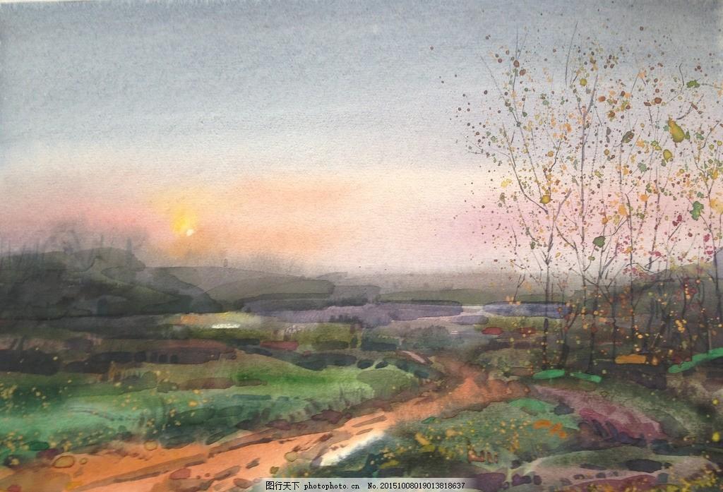 贾立敏水彩 乡间小路 风景 写生 自然 素描
