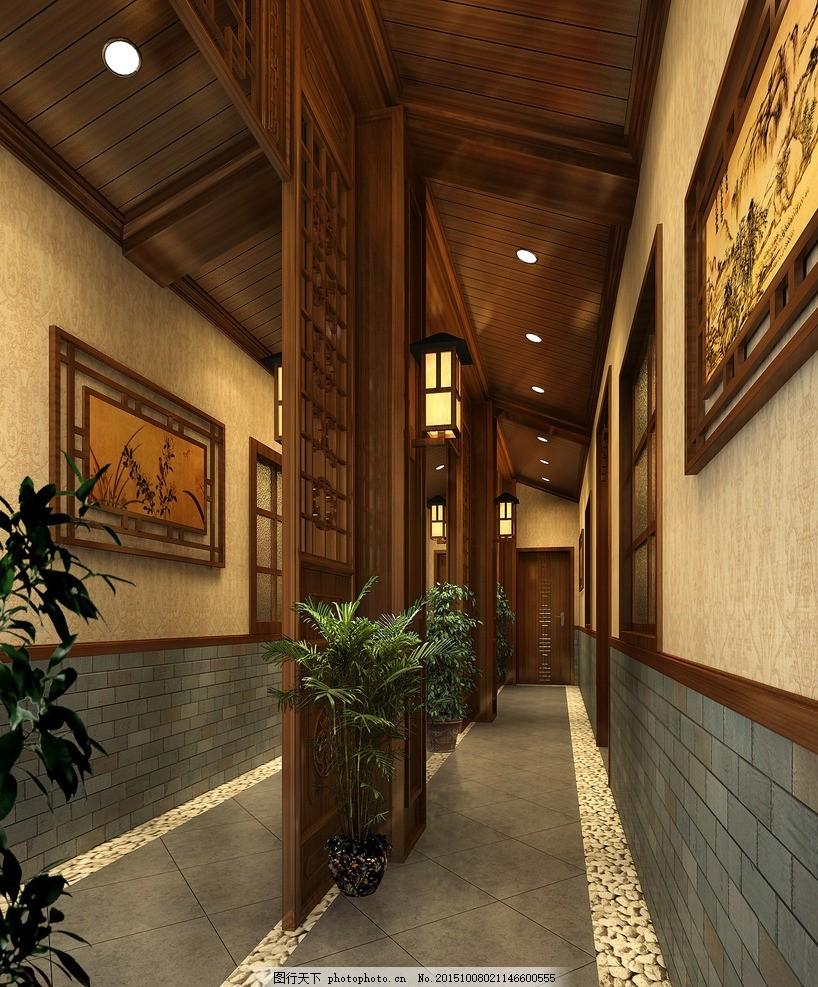 中式 茶楼 过道 中式茶楼 茶楼过道 中式效果图 过道效果图 设计 3d设