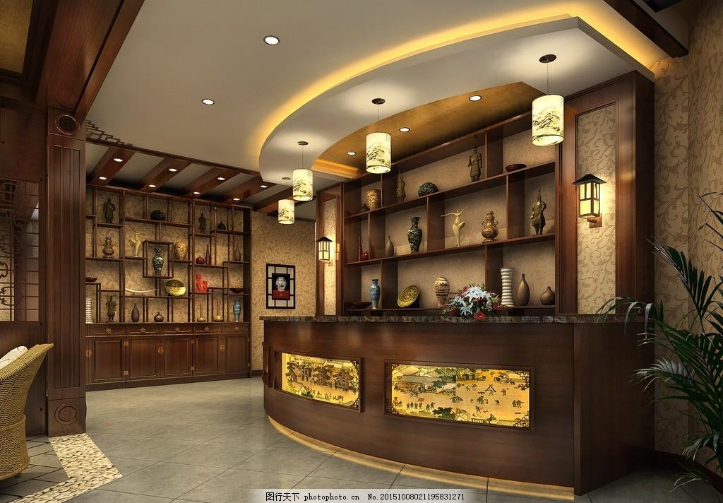 茶楼收银台 中式茶楼 收银台 茶楼效果图 收银台效果图 中式 设计 3d