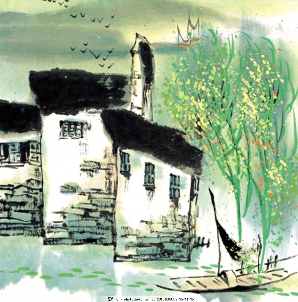 山水画 水墨 风景 房子 树 船 中国风 山水江南 手绘 古典 绘画 水墨