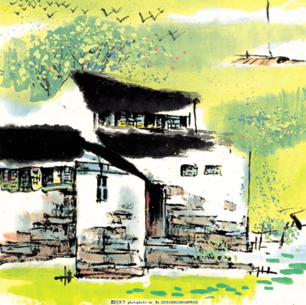 山水画 水墨 风景 房子 树 中国风 山水江南 手绘 古典 绘画