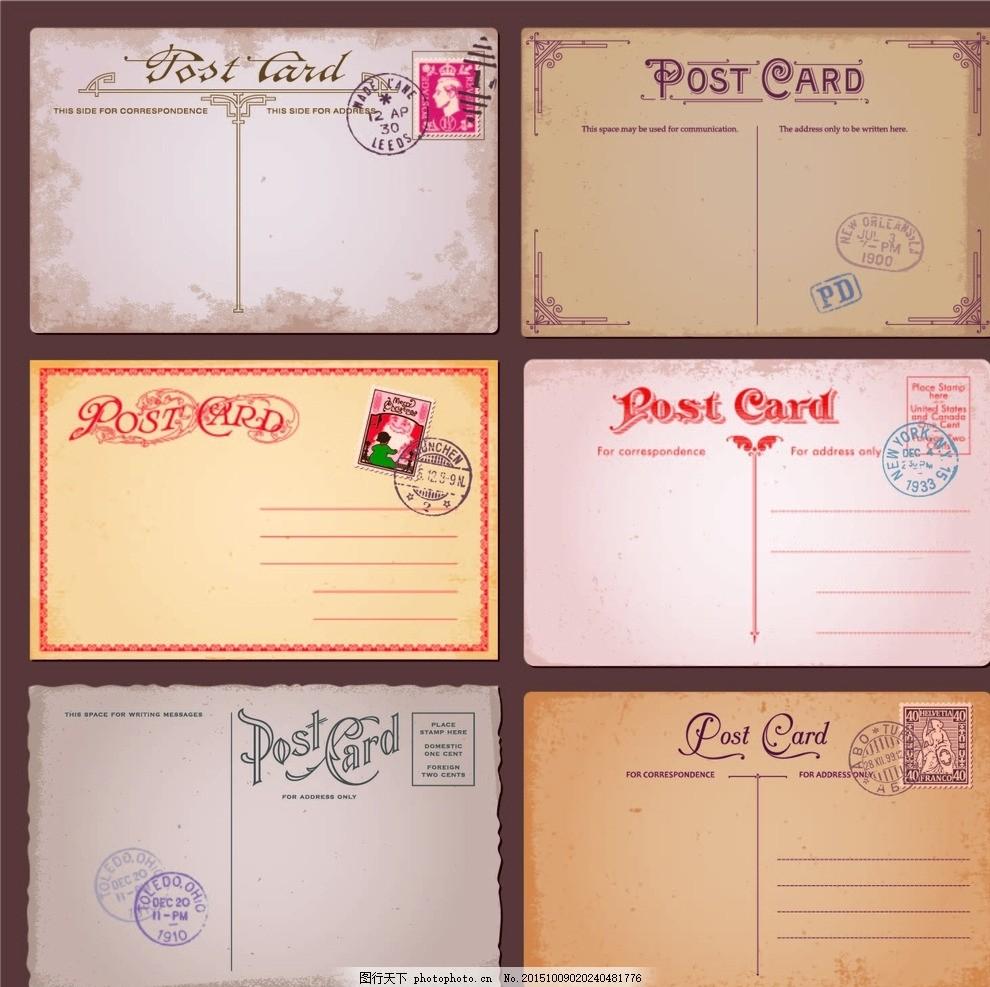 复古明信片 复古 牛皮纸 英文 时尚 明信片 欧式装饰花纹 欧式花纹
