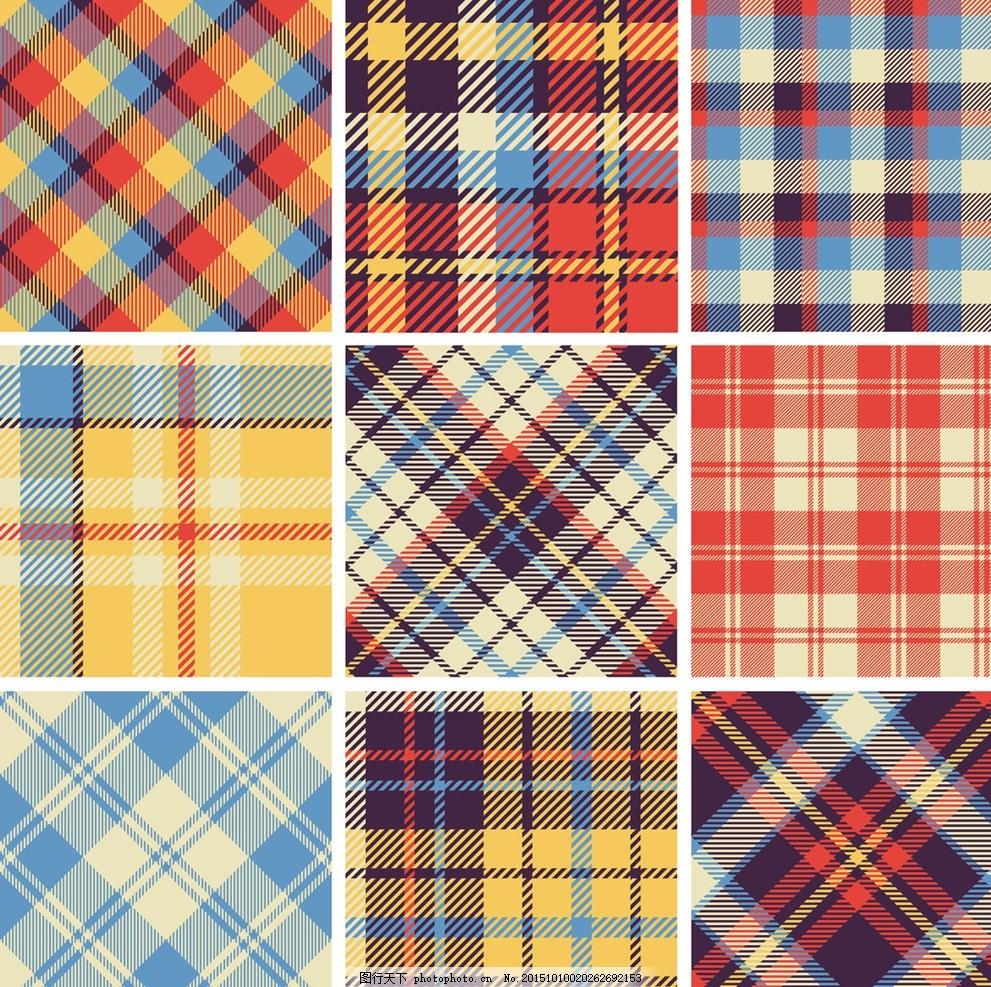 格子布面料_格子布 格子图案 布纹花纹背景 服装设计图案 衬衫面料 布料 无缝布纹