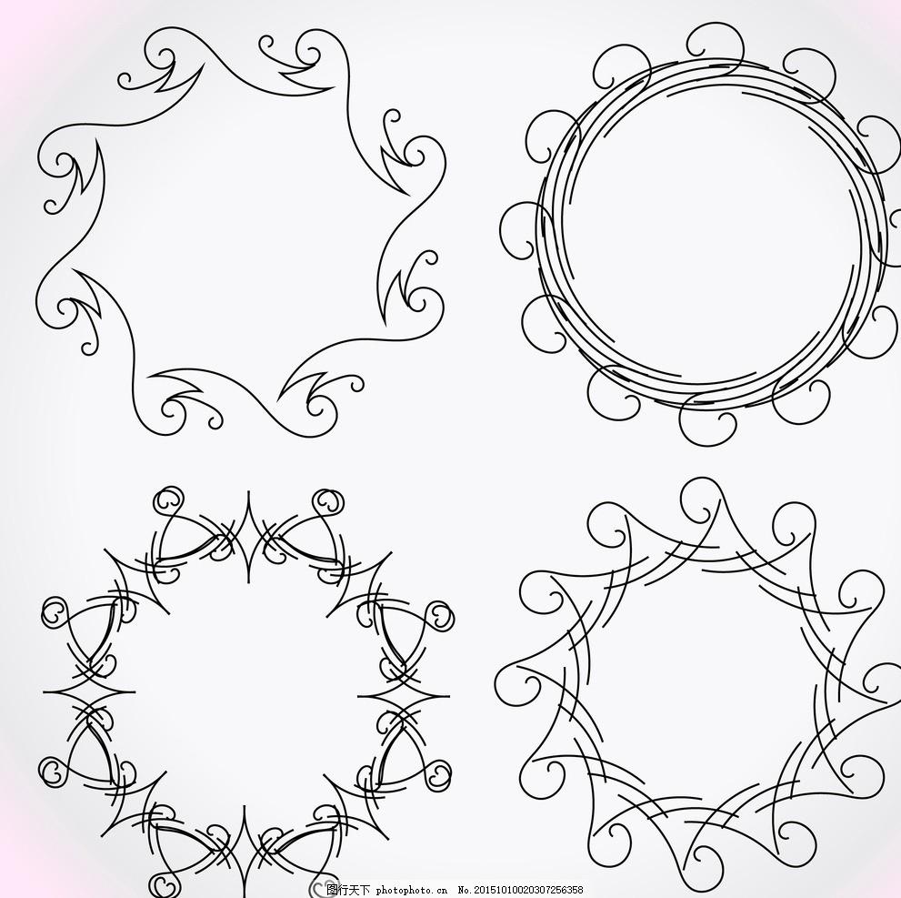 圆形花纹 花环 民族饰品花纹 装饰花纹 欧式花纹 花纹图标 部落 装饰