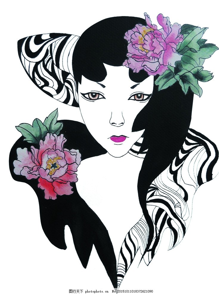 牡丹女 美术 插画 工笔画 女人 女子 模特 红牡丹 设计 动漫动画 动漫