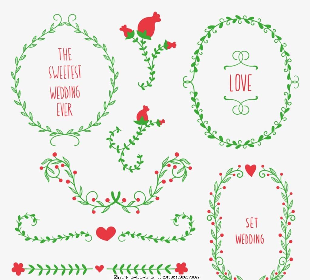 婚礼花边花环 婚礼花环 婚礼花边 玫瑰花 花枝 爱心 婚礼 花边 花环 l