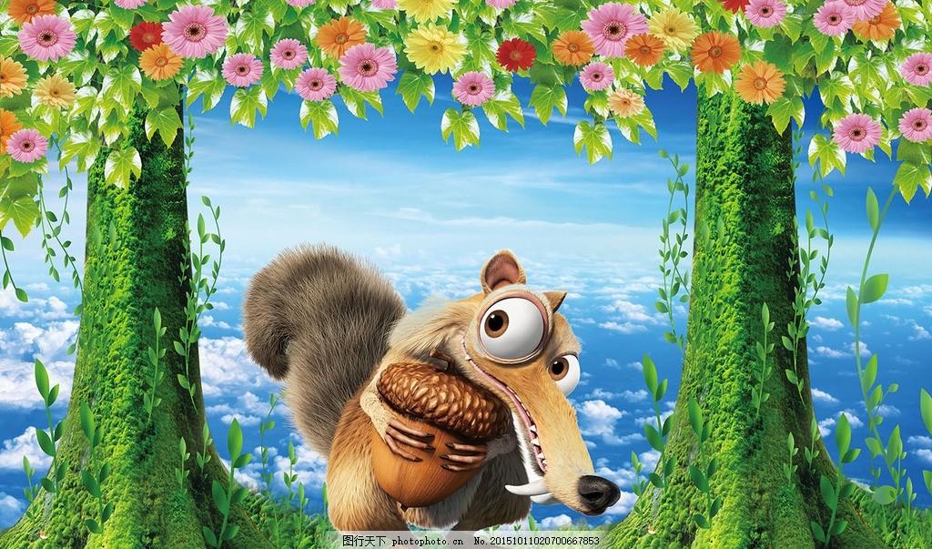 卡通松鼠,森林 树林 树木 大树 植物 草地 花卉-图行