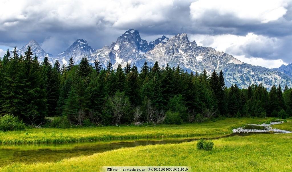 高清壁纸 风景 河水 草地 绿地 树林 雪山 摄影
