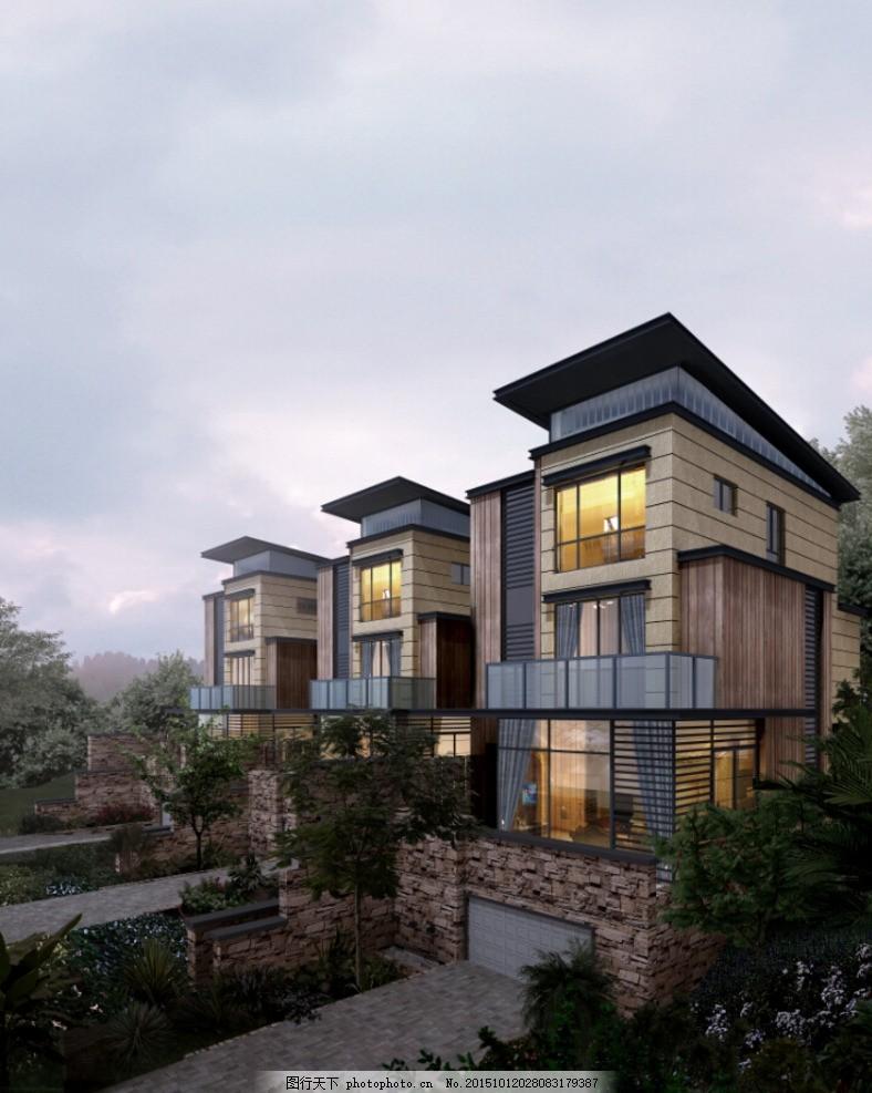 傍晚的别墅 室外效果 别墅景观 室内外效果图 景观设计 建筑设计图