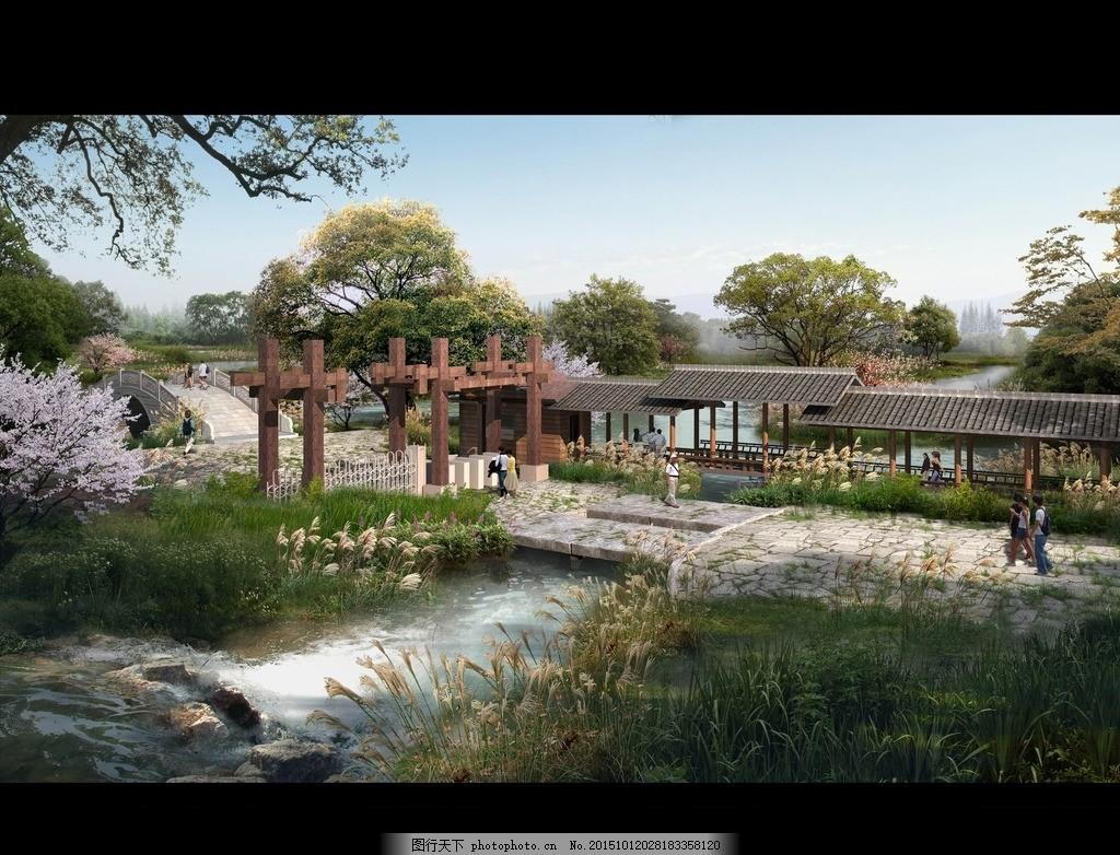 湿地公园效果图 植物 水上植物 人物 亭子 廊架 石景 河流 天空 景观