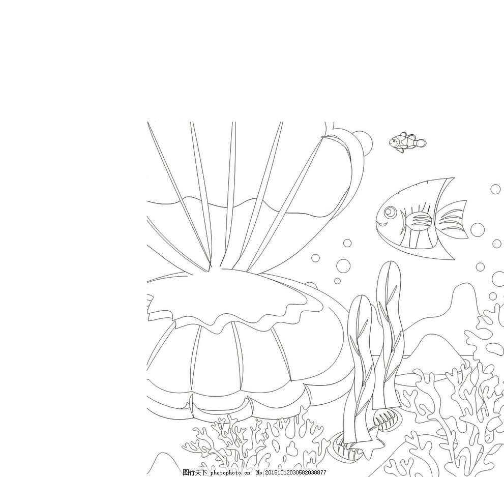 海底世界 鱼 勾线图 黑白 矢量图 海澡 珊瑚 线条 素材 设计 广告设计