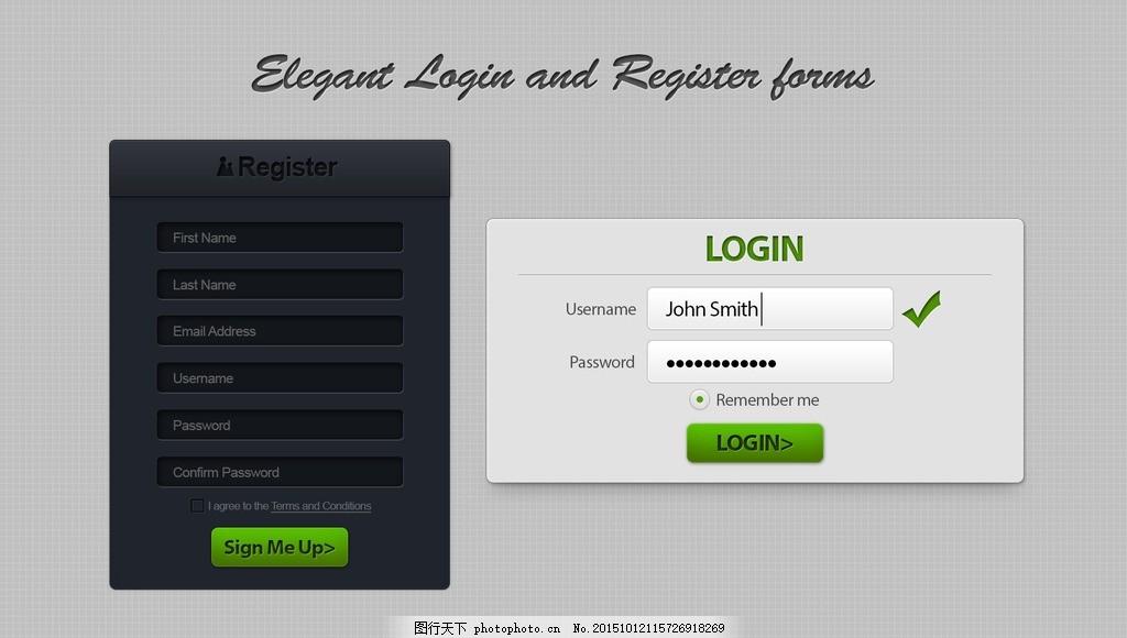 系统登录界面设计 简洁 登录框 国外 写实 英文模板