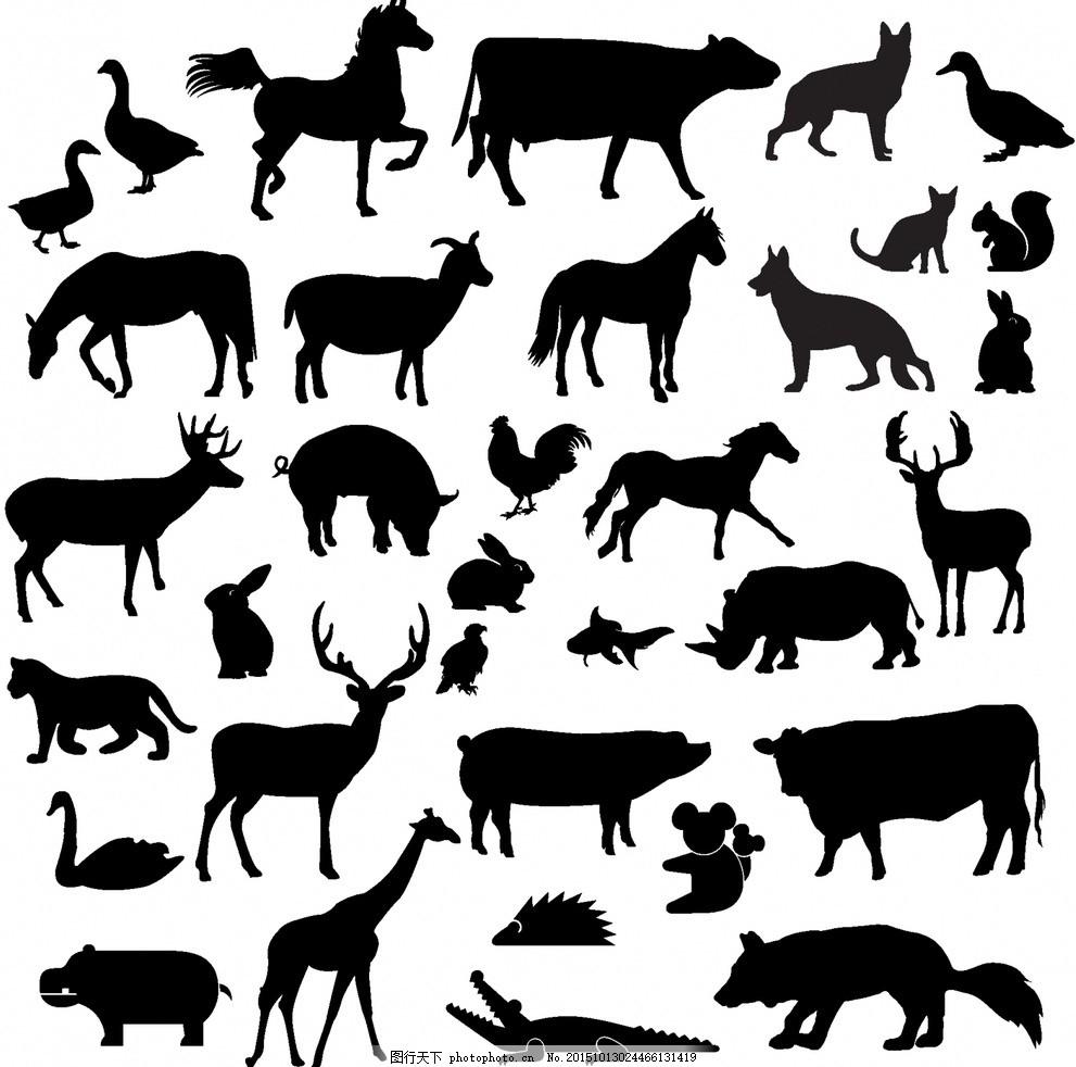实用矢量动物剪影(ai格式) 动物大图 马 兔子 狼牛 鳄鱼