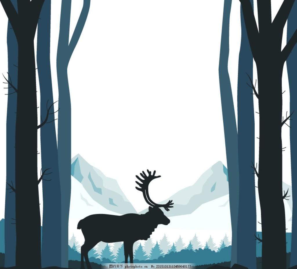 森林中的驯鹿剪影矢量图 麋鹿 圣诞节 动物 野生动物 树林 树木