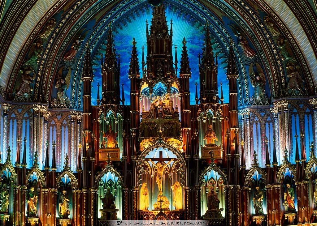 教堂炫酷灯光 宗教 教堂灯光 教堂内景 欧式建筑 摄影 建筑园林