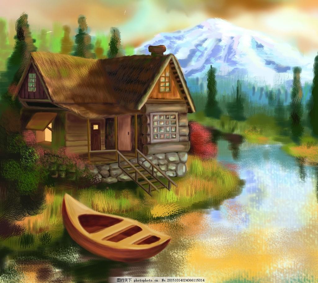 手绘封面草房子 高清 手绘 清晰 草房子 船 树 山 其他 设计 自然景观