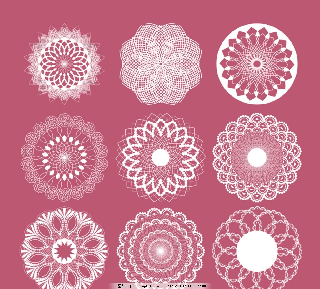 素材下载 圆形 蕾丝 花纹 矢量图 ai格式      设计 底纹边框 花边