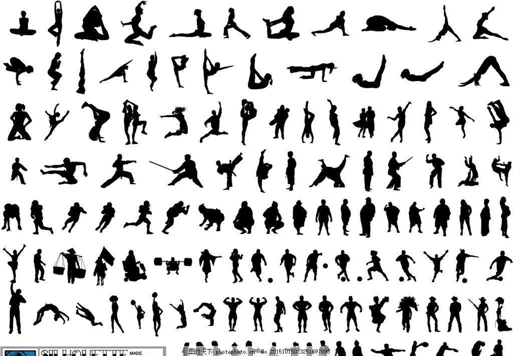 运动人物剪影矢量素材 黑白人物剪影 人物剪影 足球运动 篮球运动 健身人物剪影 运动人物 排球运动 水上运动 跑步人物 跳远人物 自行车运动 体操运动 帆船运动 运动人物剪影 跑步 健身 体育锻炼 健身运动 运动员 一群男女 运动人员剪影 体育运动员 体育运动 平面素材 设计 人物图库 职业人物 EPS