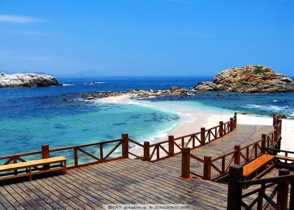 三亚风景 海南 木栈道 木板 大海 海边 海景 海水 海浪 浪花