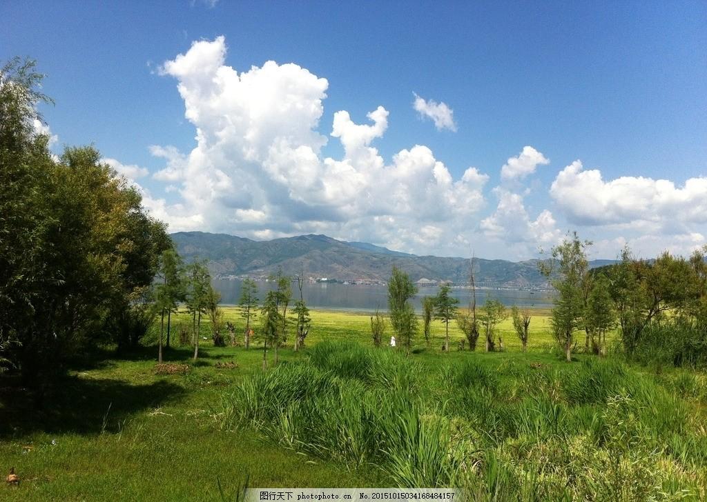郊外 蓝天 天空 白云 草地 树木 景点 摄影 自然景观 自然风景 72dpi