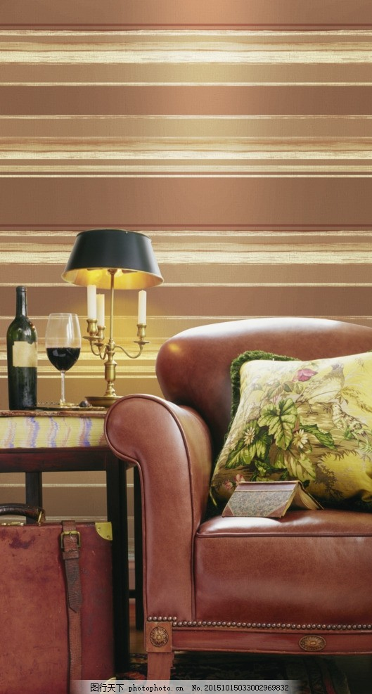 墙纸效果图 壁纸 墙纸贴图 花型 横条 欧式风格 客厅一角 局部