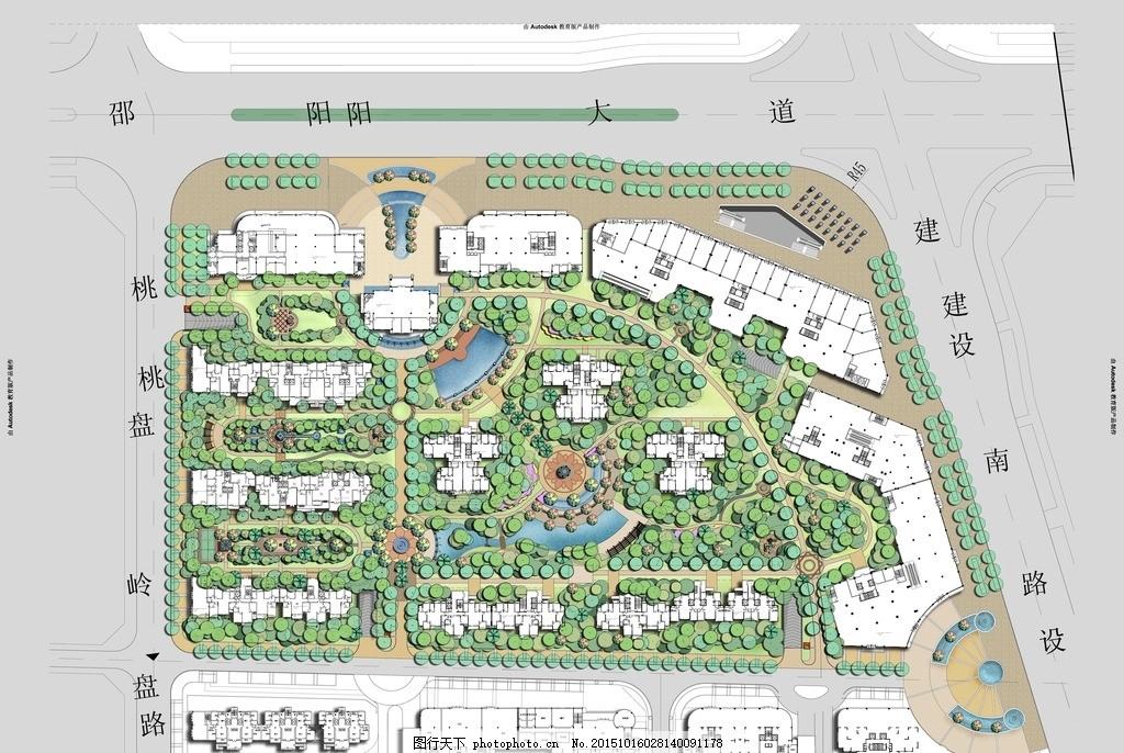 某小区总图设计 欧式 轴线设计 景观设计 总平面设计 小区景观设计