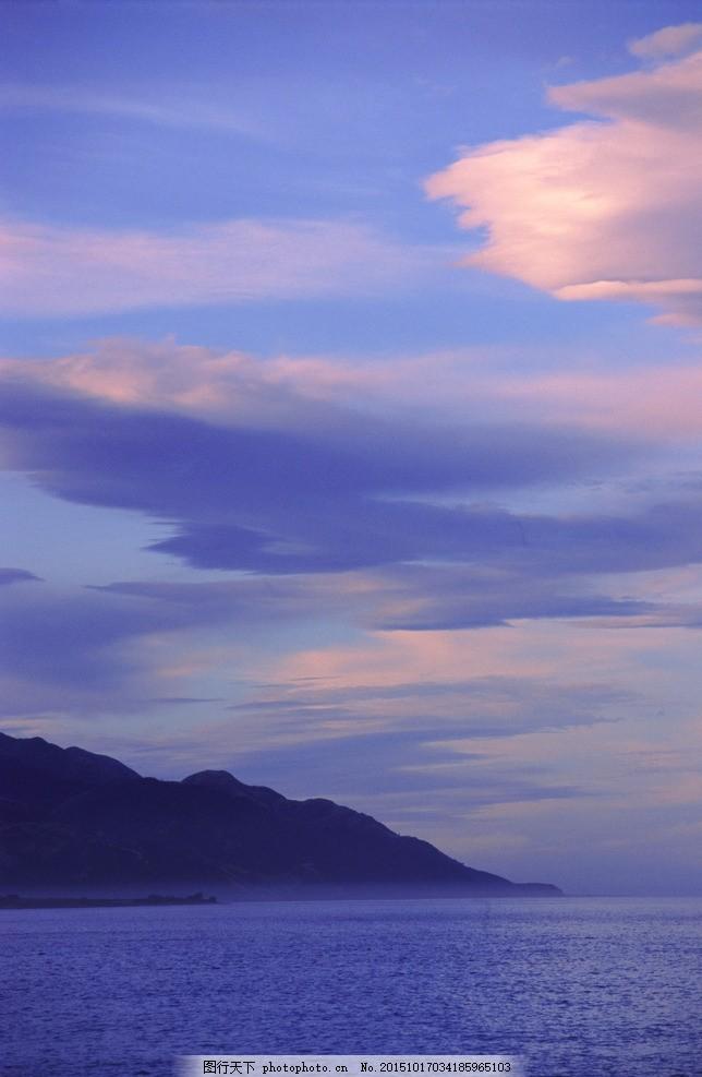 海边晚霞 波浪云 海边红云 海滩 蓝天 海水 风景 唯美 风光