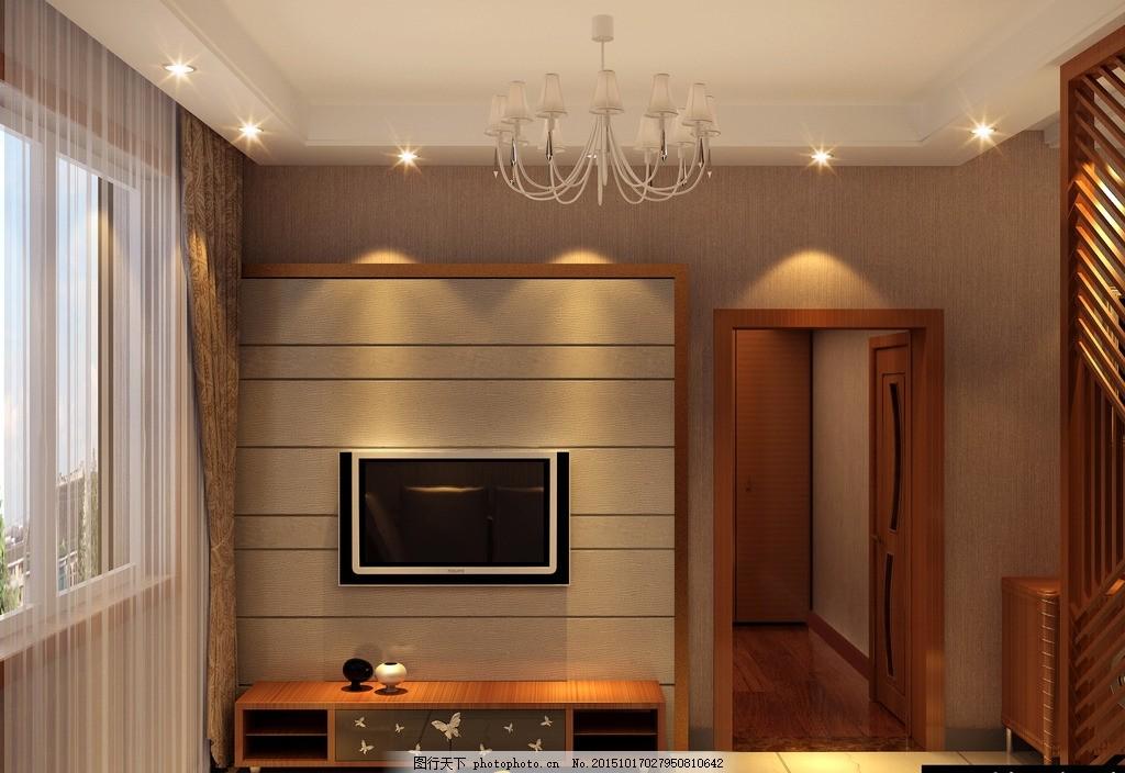 室内效果图 客厅 电视背景 玄关 客厅吊顶 电视柜 原创设计