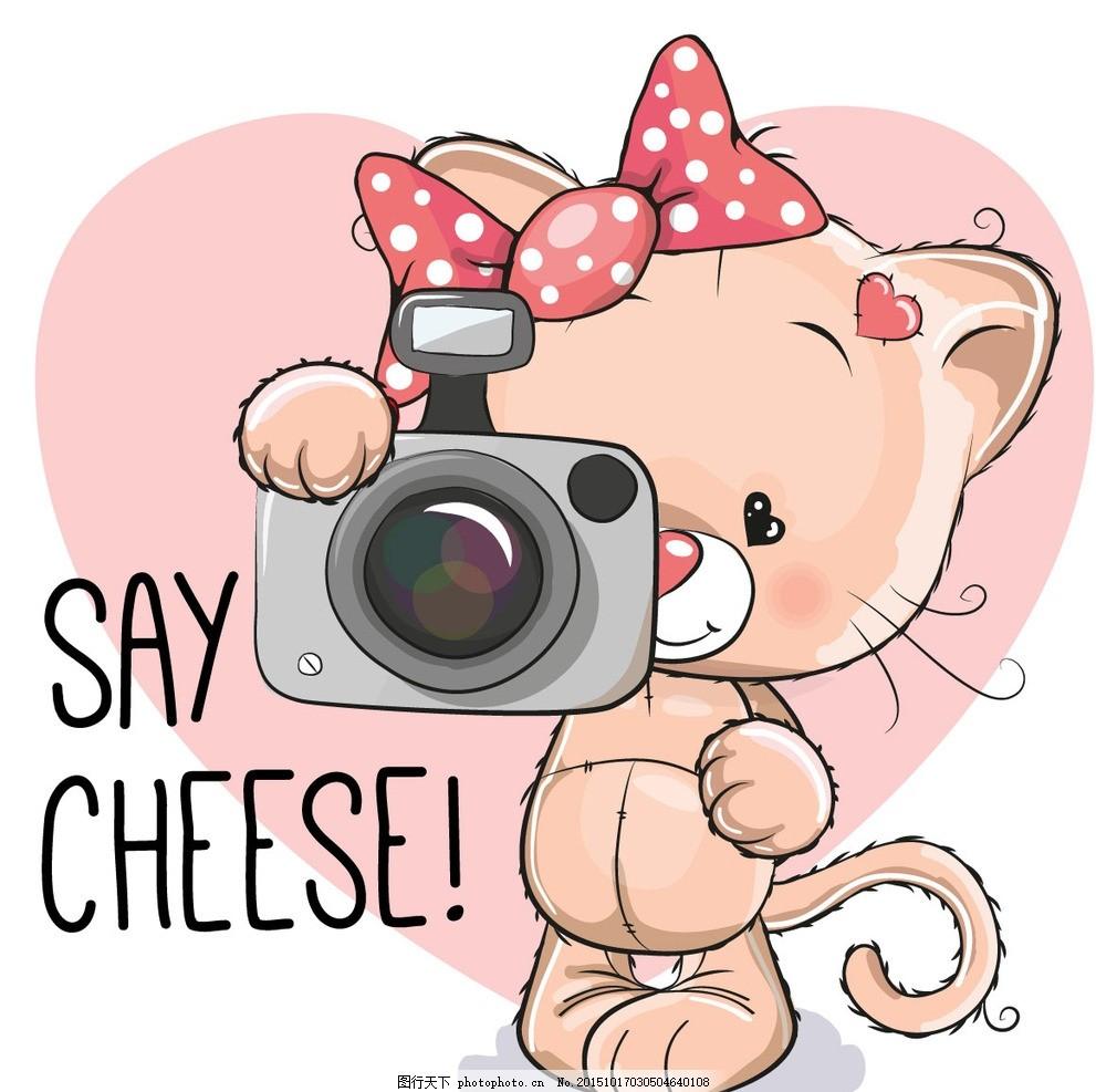 可爱卡通形象 蝴蝶结 猫咪 卡通猫 相机 拍照 底纹背景 卡通背景 粉红