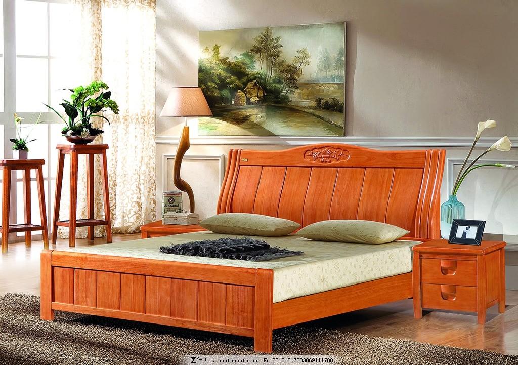 实木床配景 床配景 实木床 海棠色 床头柜 亮色背景 设计 psd分层素材