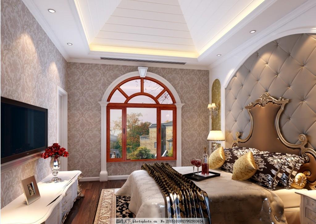 欧式卧室 欧式      风格 简结 窗户 设计 环境设计 室内设计 300dpi图片