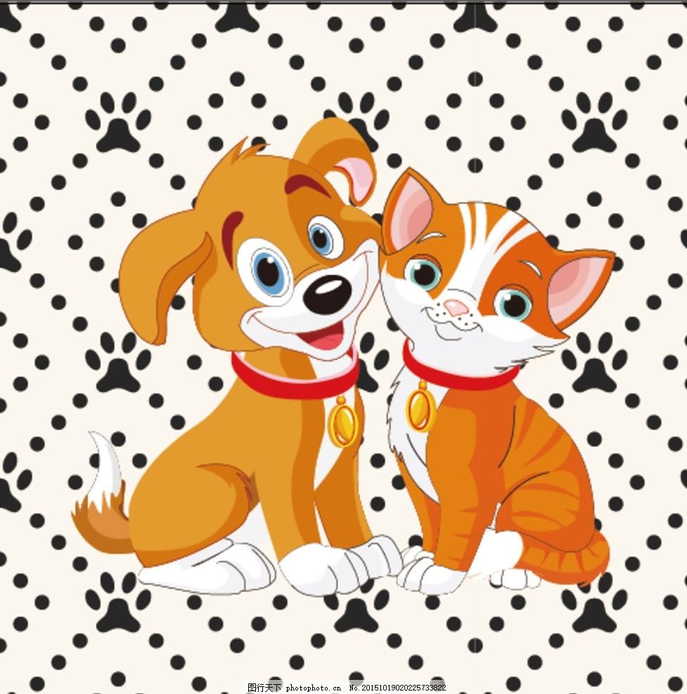 可爱小猫 小狗 设计 宠物设计 背景图 狗脚印