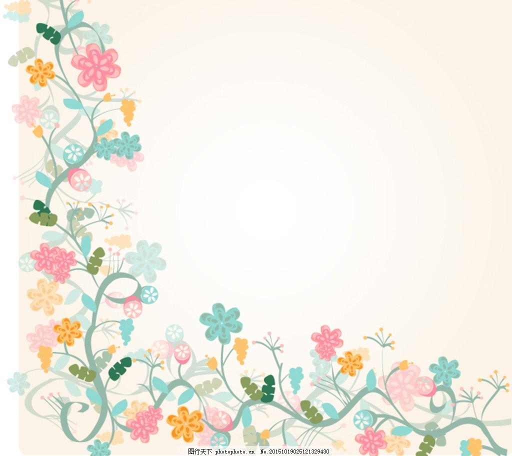 水彩花卉边框背景矢量素材 水彩 花卉 边框 花朵 植物 花藤 花蔓 藤蔓