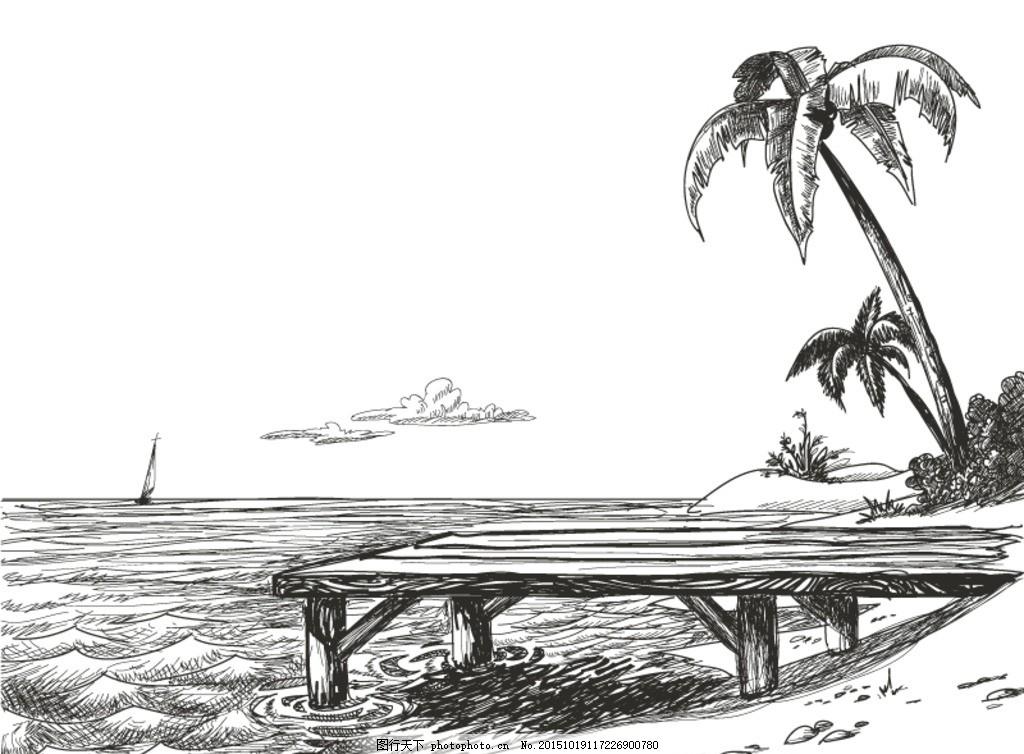 手绘海边风景矢量素材 手绘 海边 风景 椰子树 棕榈树 海洋 大海 海水