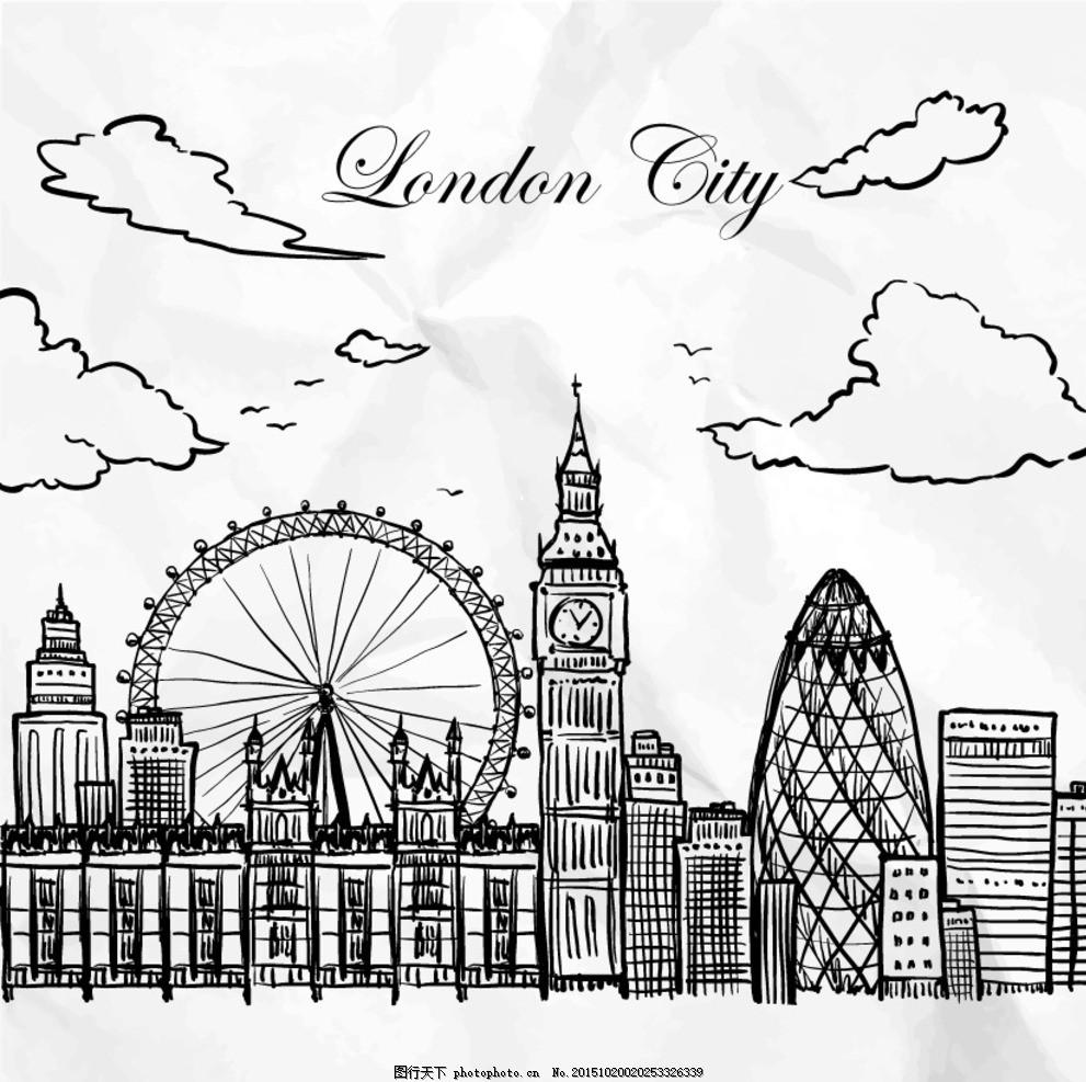手绘伦敦城市 英国 手绘建筑 英国元素 英国建筑 标志性建筑 手绘插画