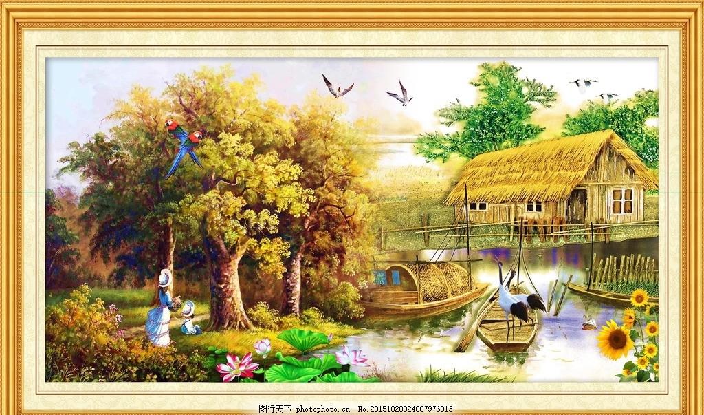 风景山水画 水墨画 瀑布风景 风景背景 风景模板 风景板式 家乡山水画