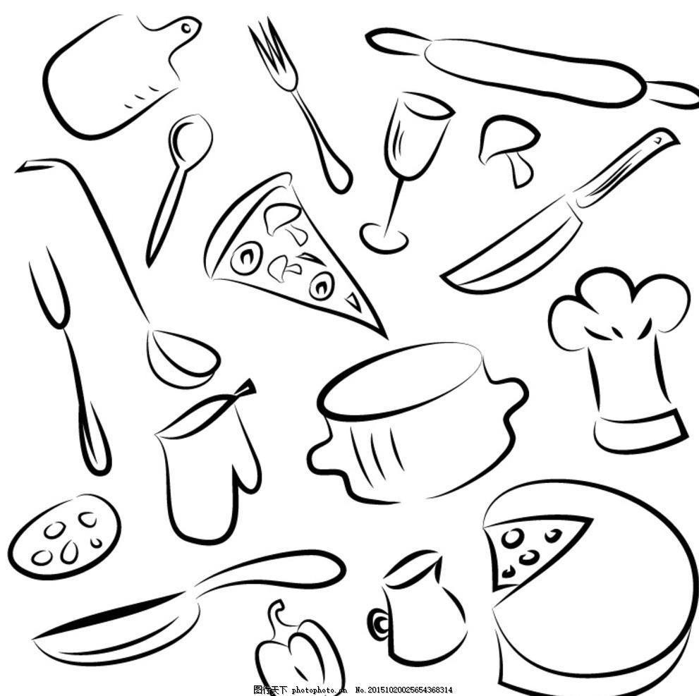 手绘厨具矢量素材 菜板 勺子 叉子 菜刀 厨师帽 手套 打蛋器