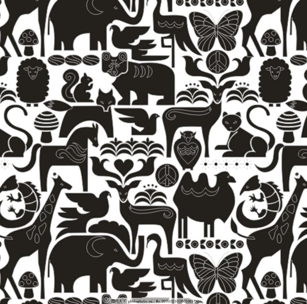 雕刻压花商标图案矢量图 雕刻素材 压花印染 商标动物图案 蝴蝶骆驼鸟