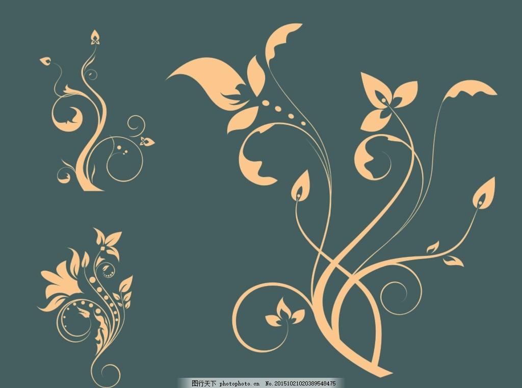 欧式枝条3 花叶 典雅花纹 白描花纹 单线 鲜花 背景墙 传统画