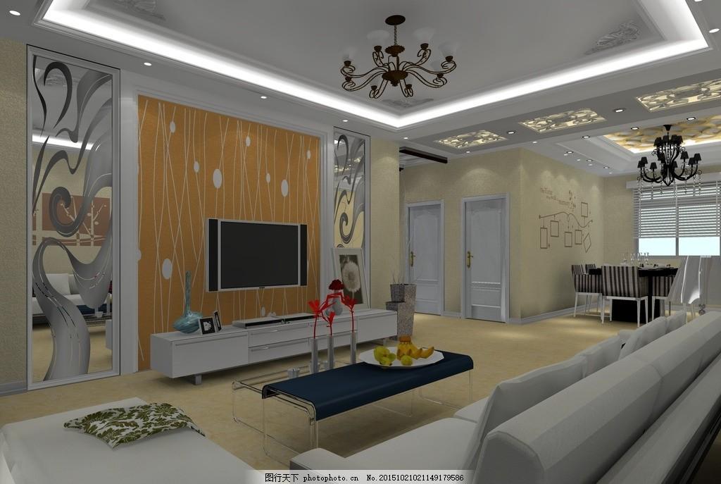 欧式厅效果图 客厅 电视墙 硅藻泥